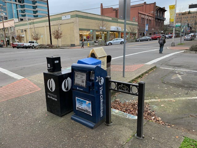 Newsboxes And Bike Rack on Main Street