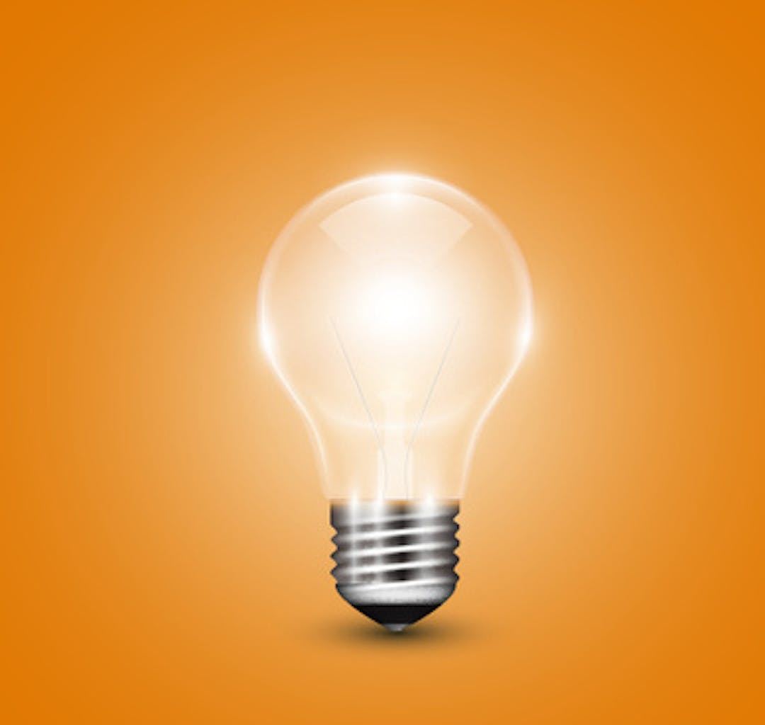 Yellow background with light bulb vector 543364