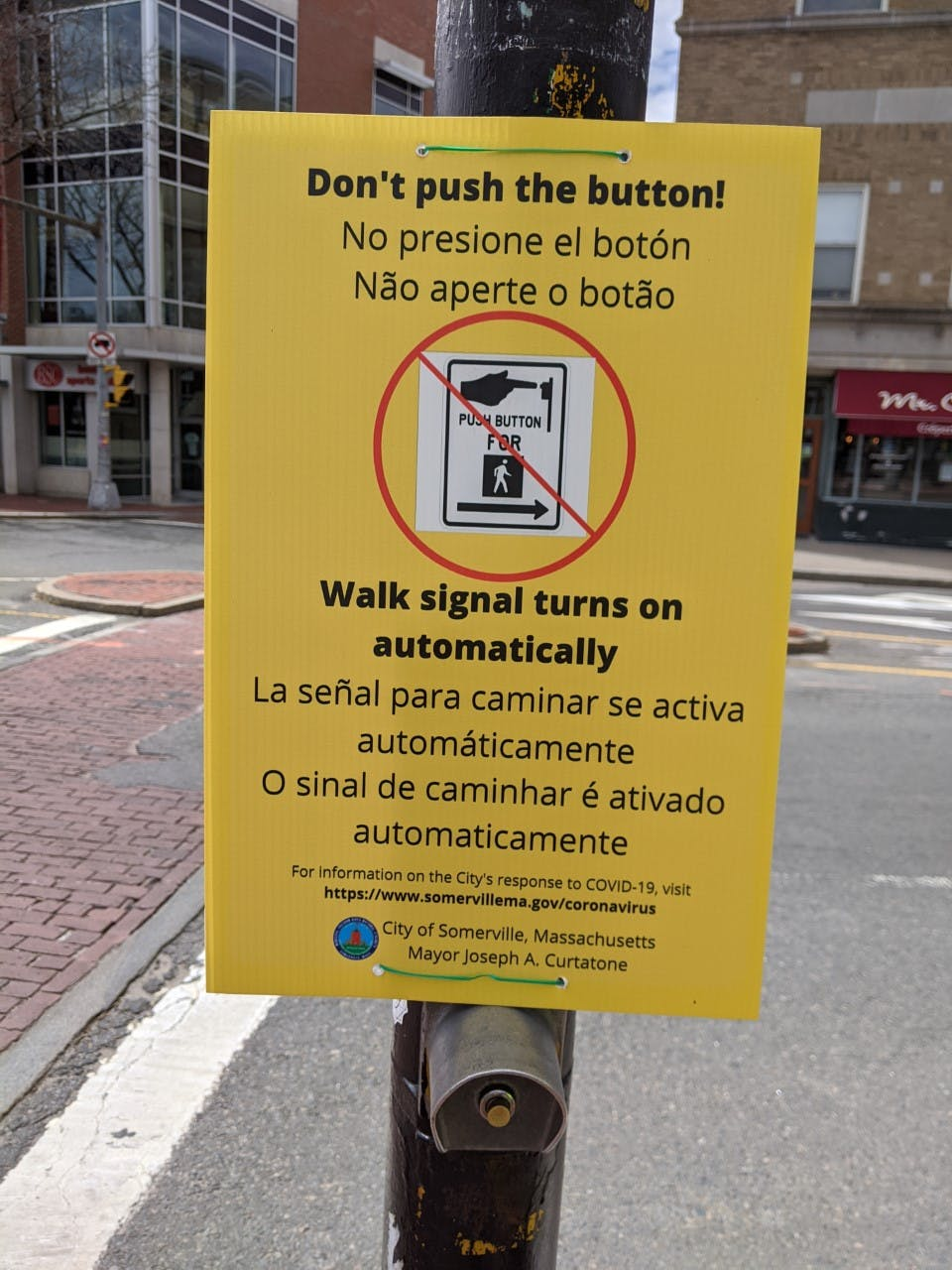 Automatic pedestrian signal sign