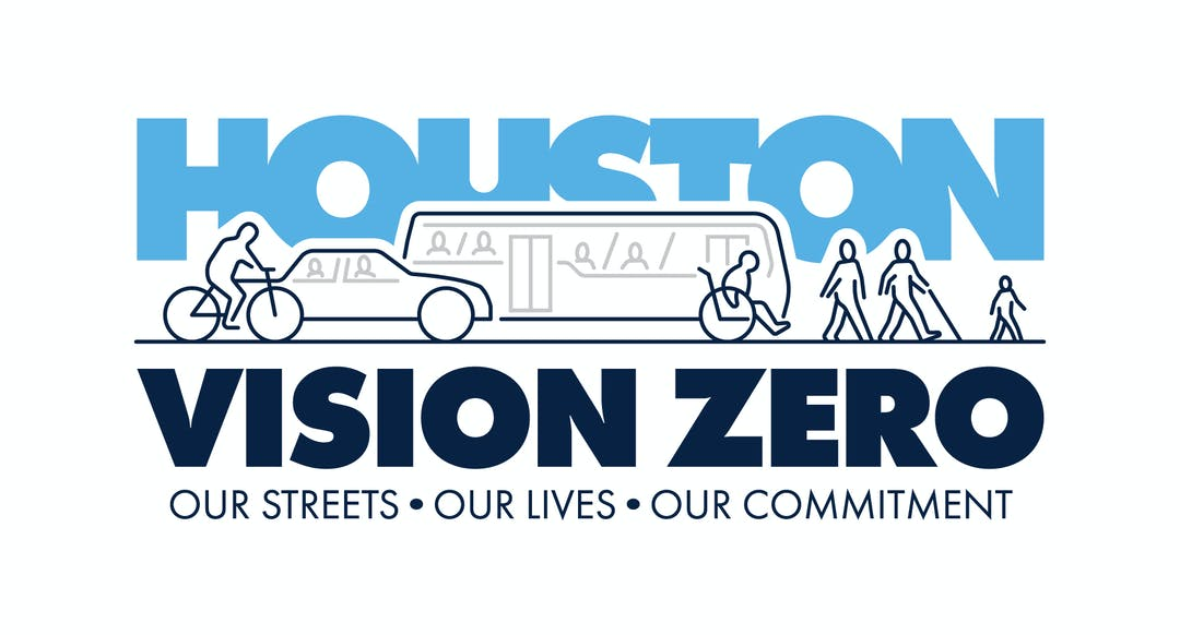 Vision Zero Houston logo featuring street shared with person riding biking, people in a car, people on a bus, person using a wheelchair, and group of people walking including a child and person with a cane. Tagline: our streets, our lives, our commitment.