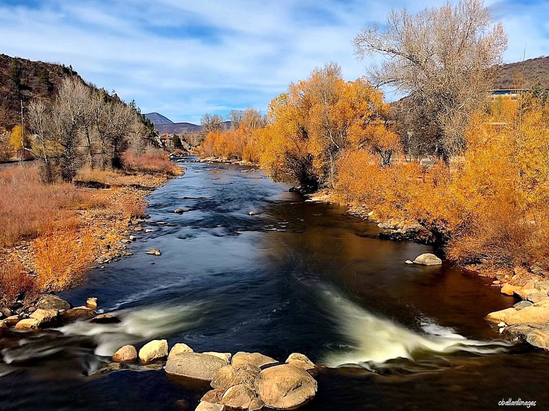 The Yampa River flows through downtown Steamboat Springs, Colorado.