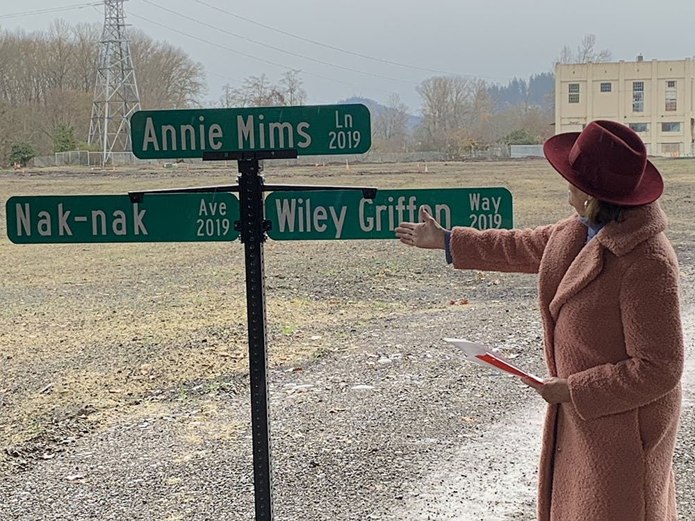 Mayor Lucy Vinis unveiled the final names for three new Downtown Riverfront streets: Annie Mims Lane, Nak-nak Avenue and Wiley Griffon Way.