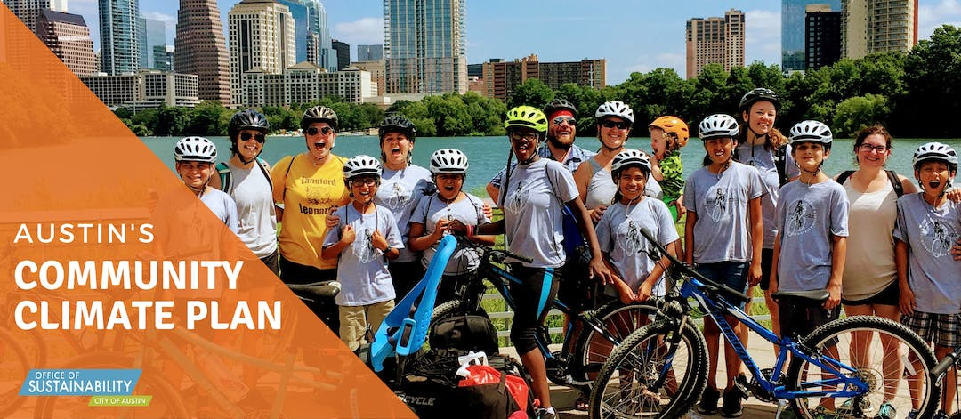 Austin's Community Climate Plan graphic overlays photo of kids posing with bikes. Austin city skyline is in the background.