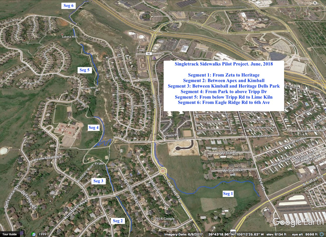 STS complete trail map highlighted in blue.