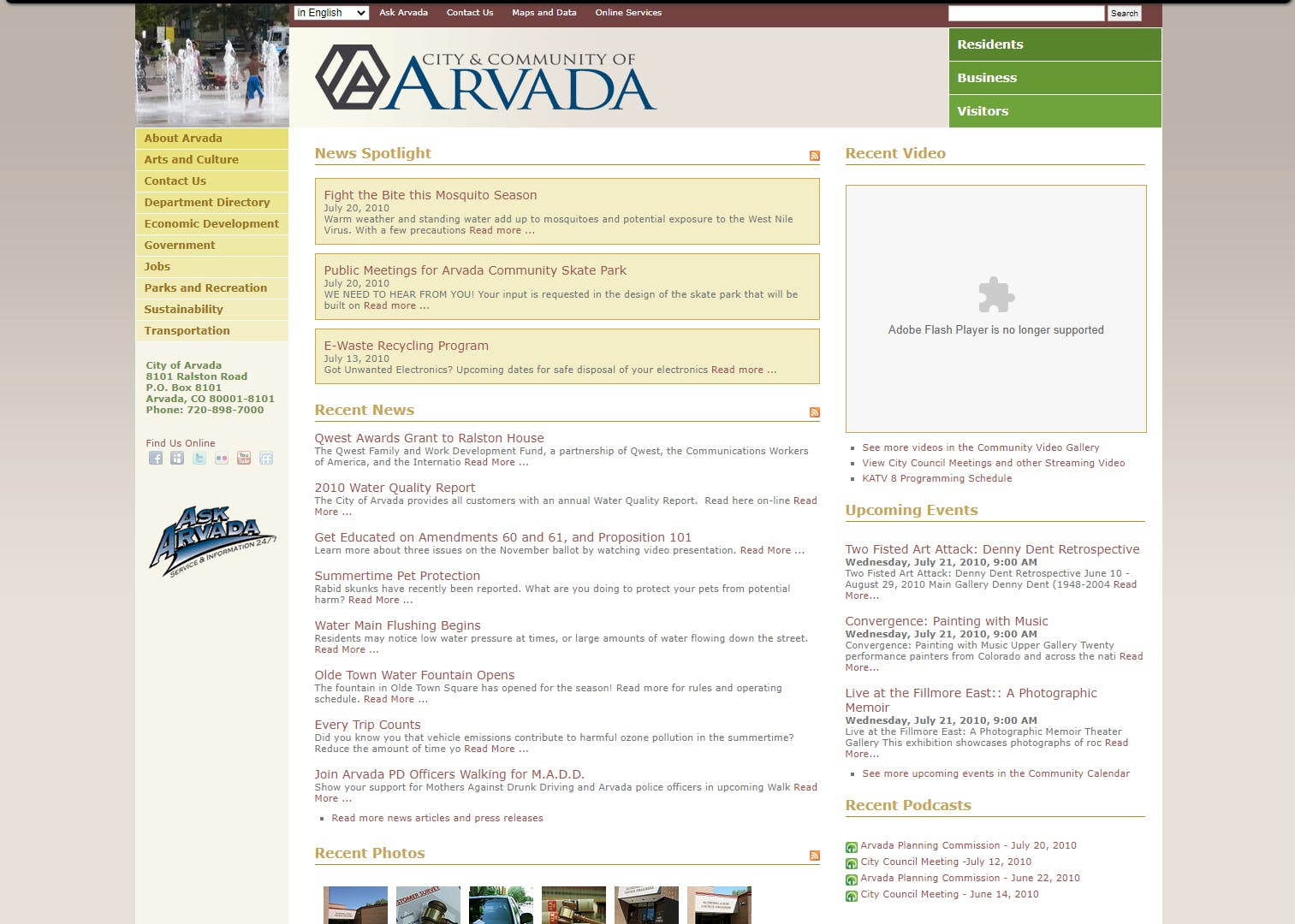 Arvada.org in 2010