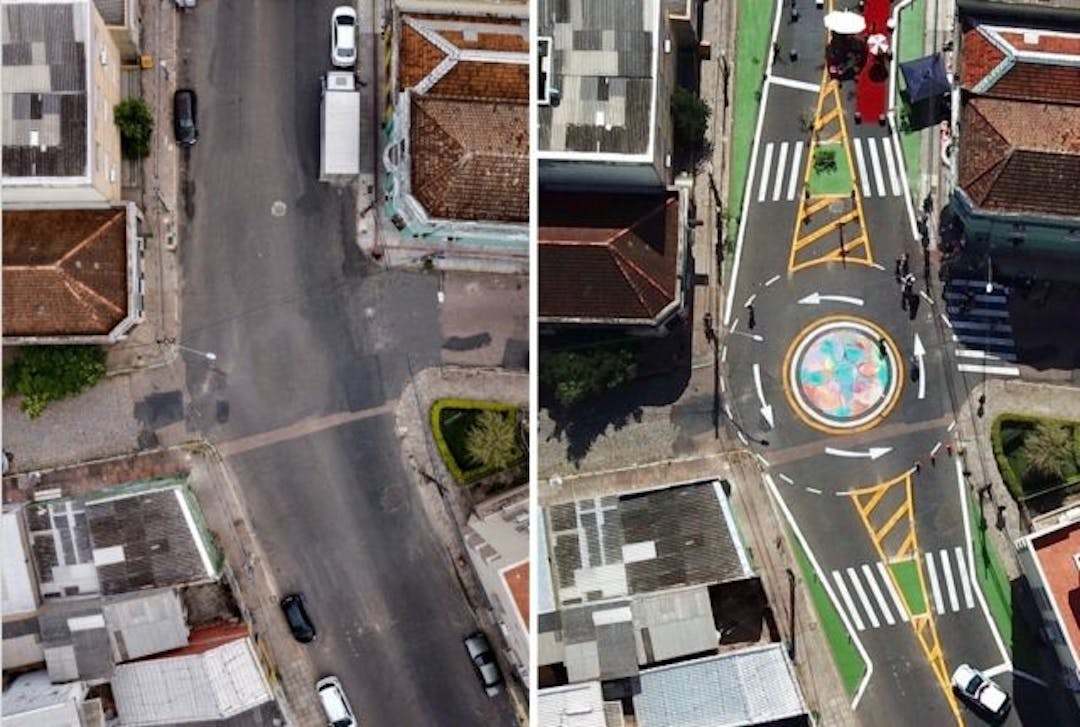 Example of Tactical Urbanism from Alegre, Brazil showing Before and After Pictures.