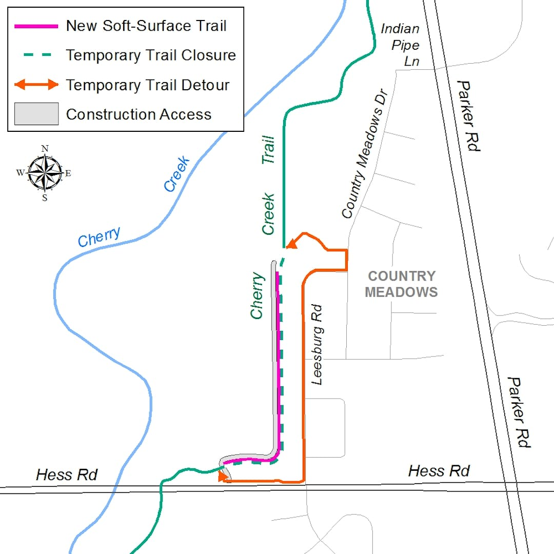 The new soft-surface trail test section will be located alongside the existing Cherry Creek Trail, just west of the Country Meadows community.
