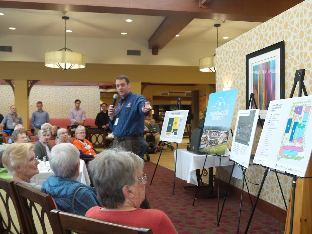 City Manager Brandon Buchanan share information about the Civic Campus project with residents.