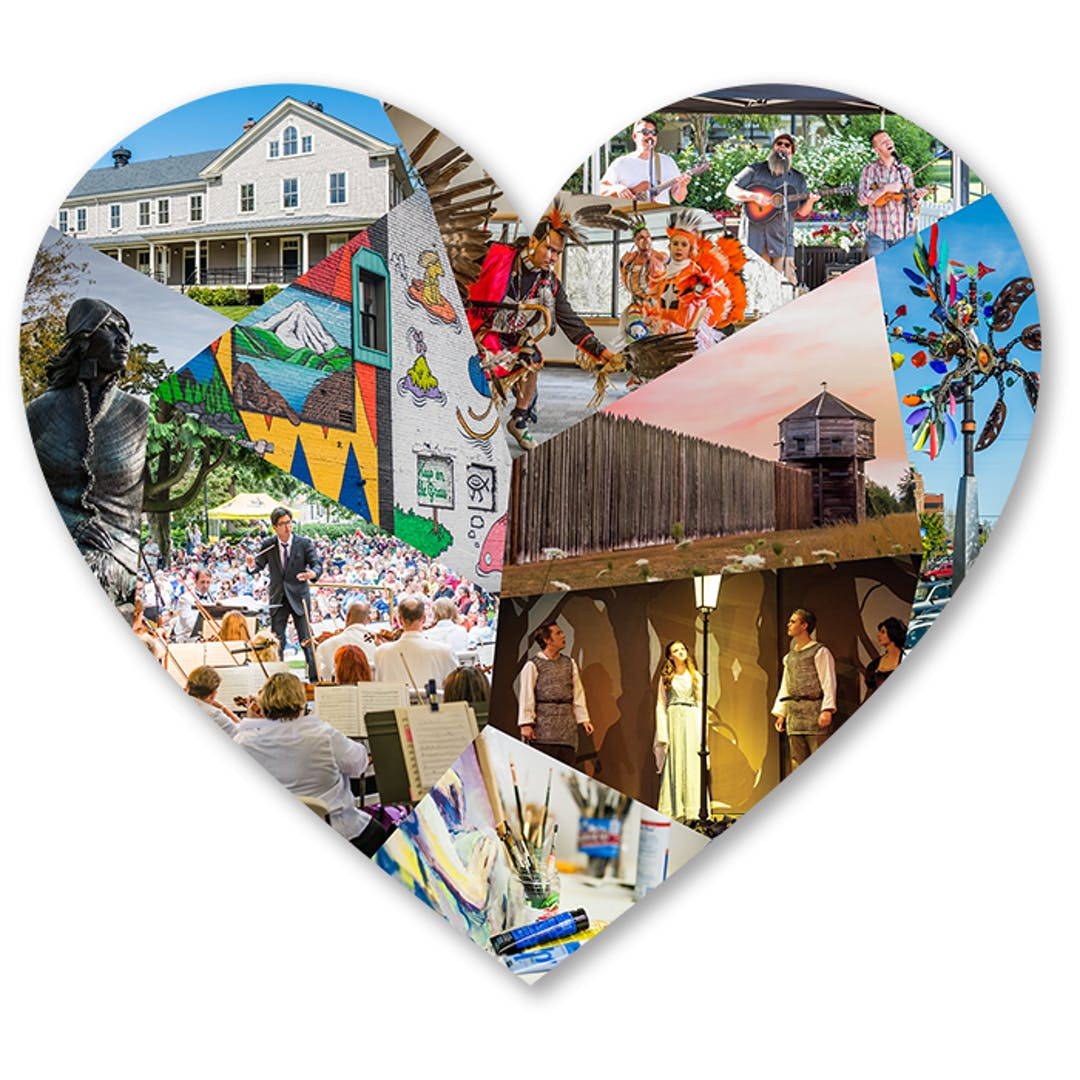 Heart shape with multiple photos of community cultural events, art and historic spaces
