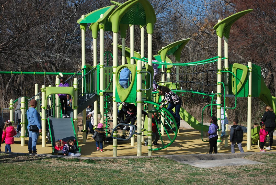 Existing play structure and swing set at Calf Pasture Park.