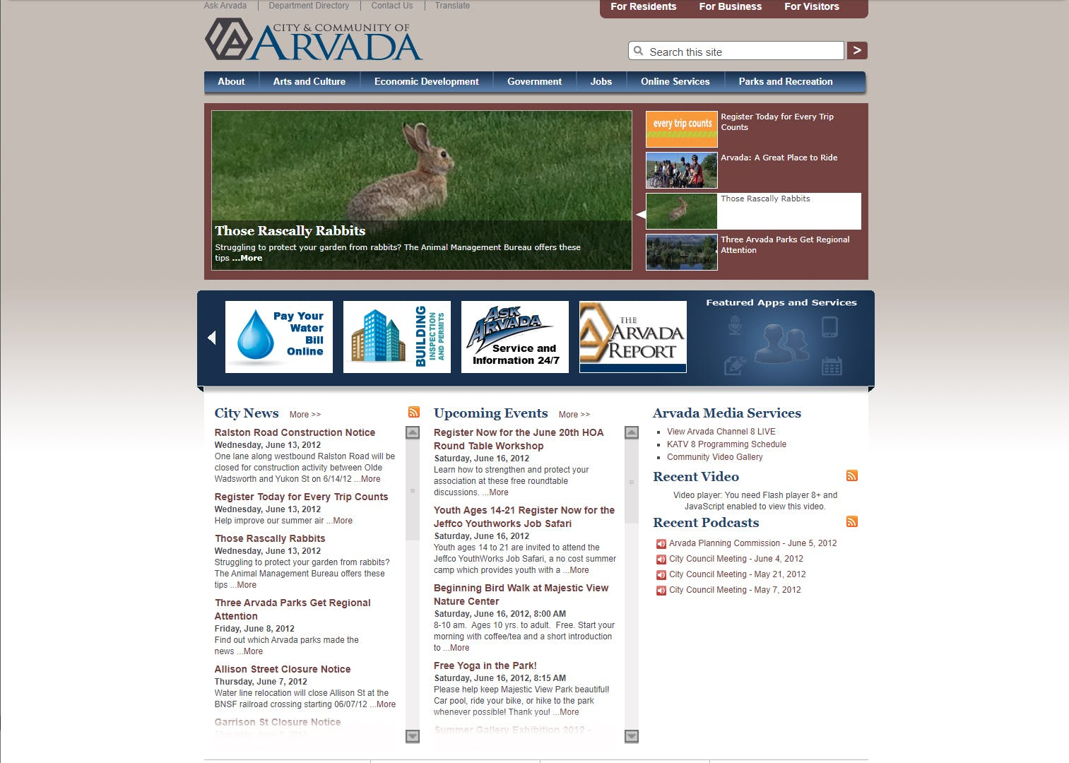Arvada.org in 2012