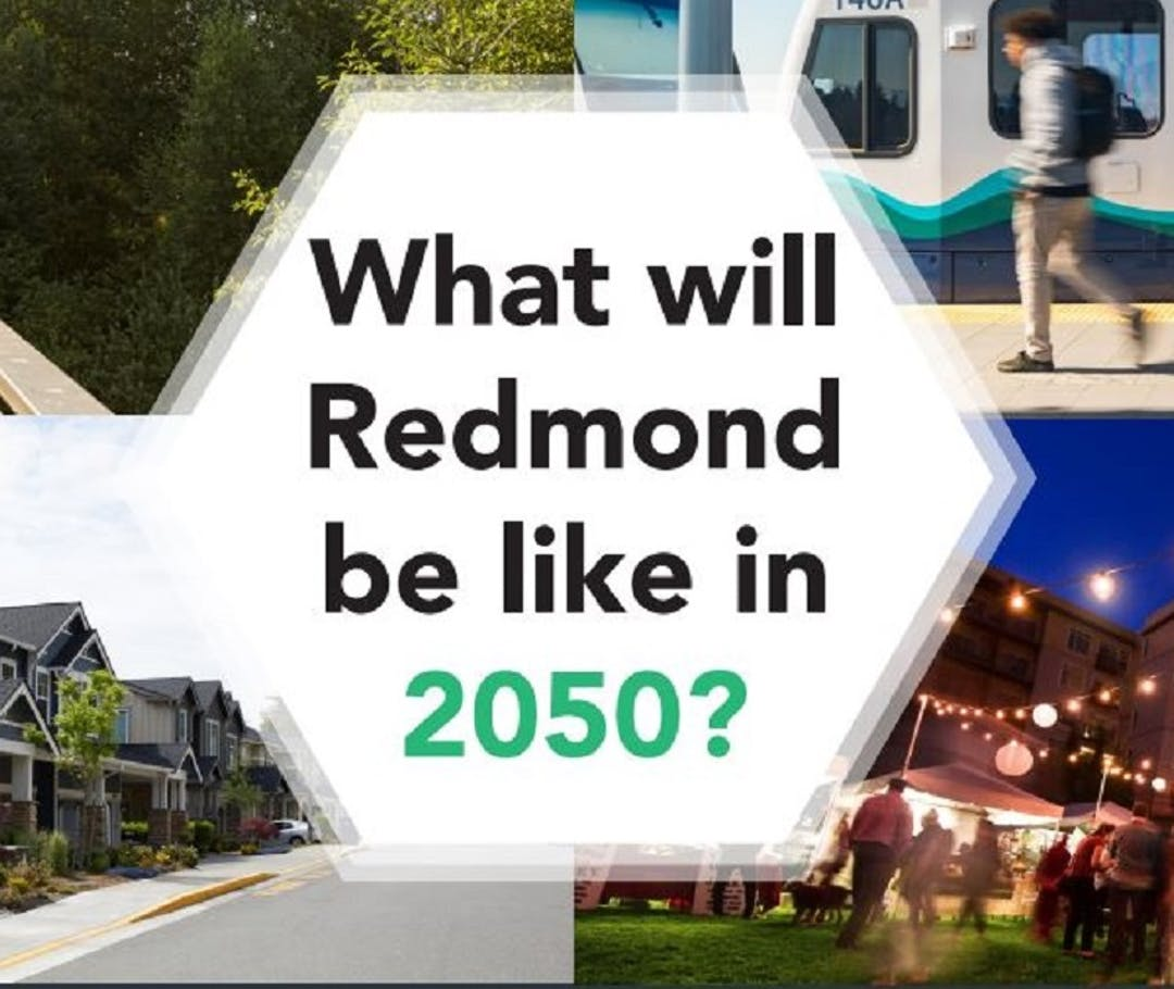 Background images is an aerial photo of the city, with a large green arrow and the Redmond 2050 logo superimposed on top.