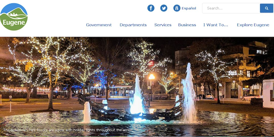 City of Eugene's website homepage.