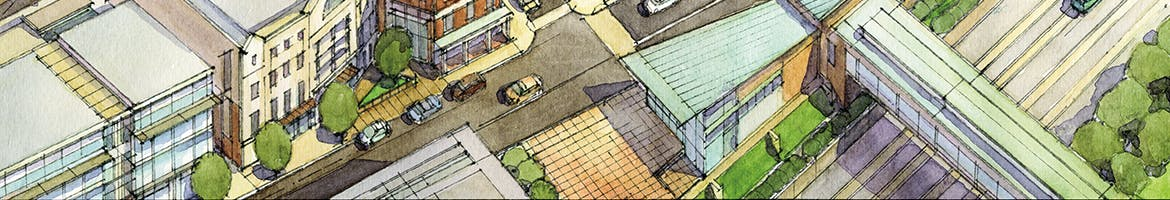 Rendering of a portion of the Homans Building from the Gilman Square Neighborhood Plan.