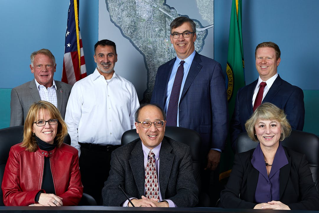 2020 City Council: (left to right, front) Wendy Weiker, Benson Wong, Lisa Anderl; (left to right, back) Jake Jacobson, Salim Nice, Craig Reynolds, Dave Rosenbaum