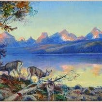 Three deer come down to the lake's edge at day's end. In the background, the setting sun lights up the craggy peaks of the distant Continental Divide, casting a reflection in the placid water far below