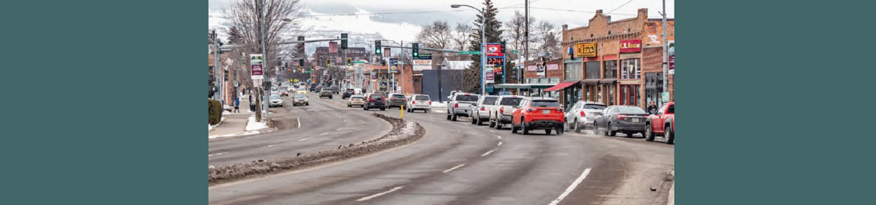 """View of the """"Hip Strip"""" portion of the Higgins Avenue corridor"""