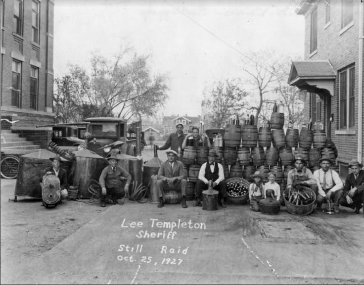 Raid on a still in Denver during prohibition