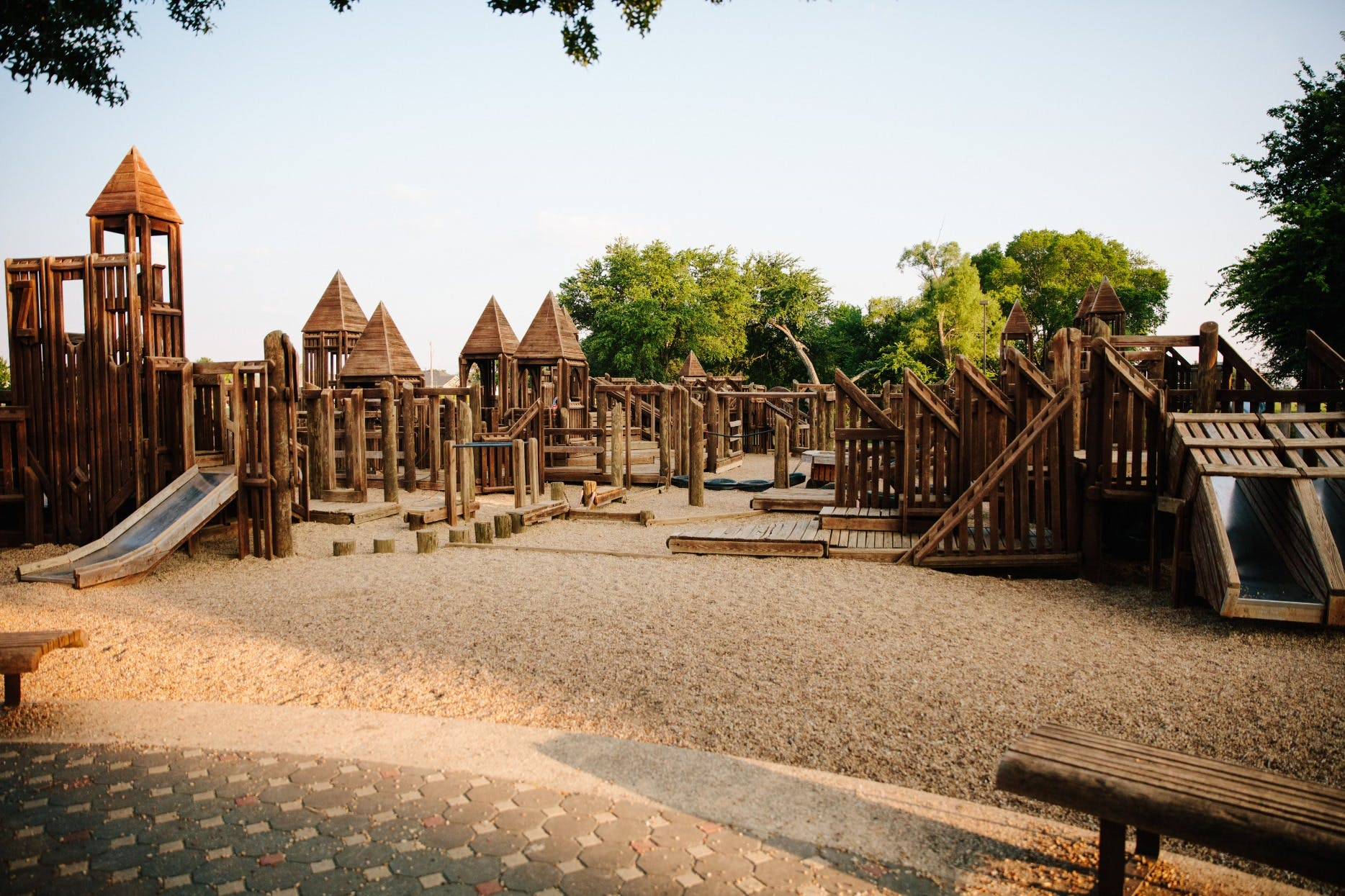 Original wooden play structure, located at Virginia Weaver Park.