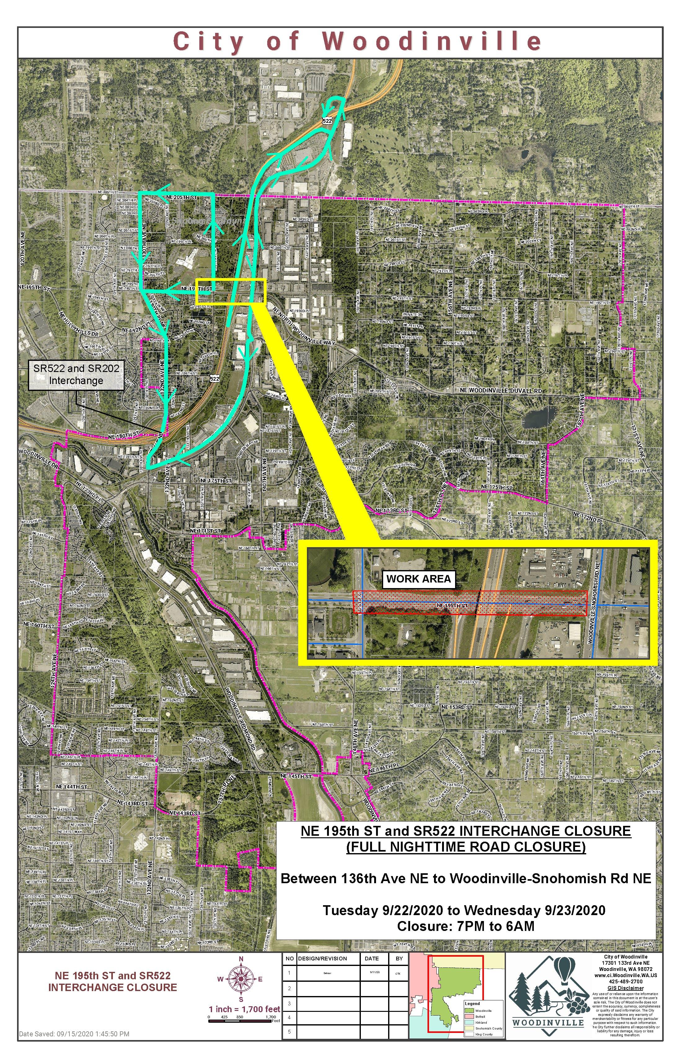 Sept. 22-23 NE 195th St Closure Map