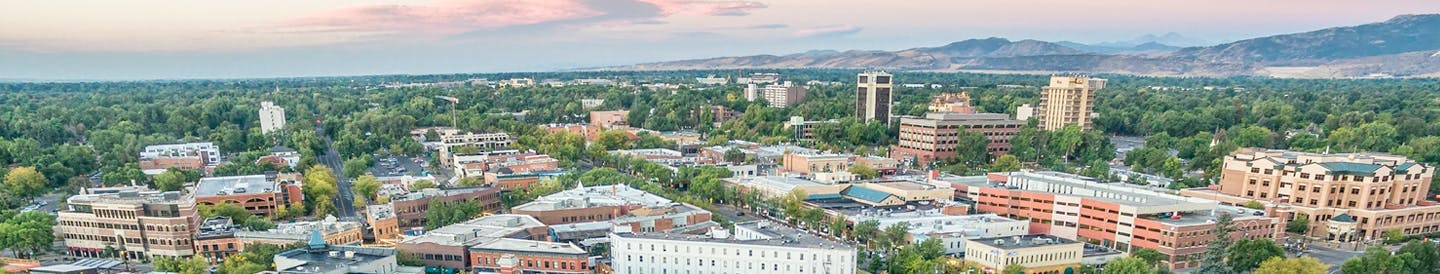 Aerial view of Downtown Fort Collins looking southwest toward the foothills