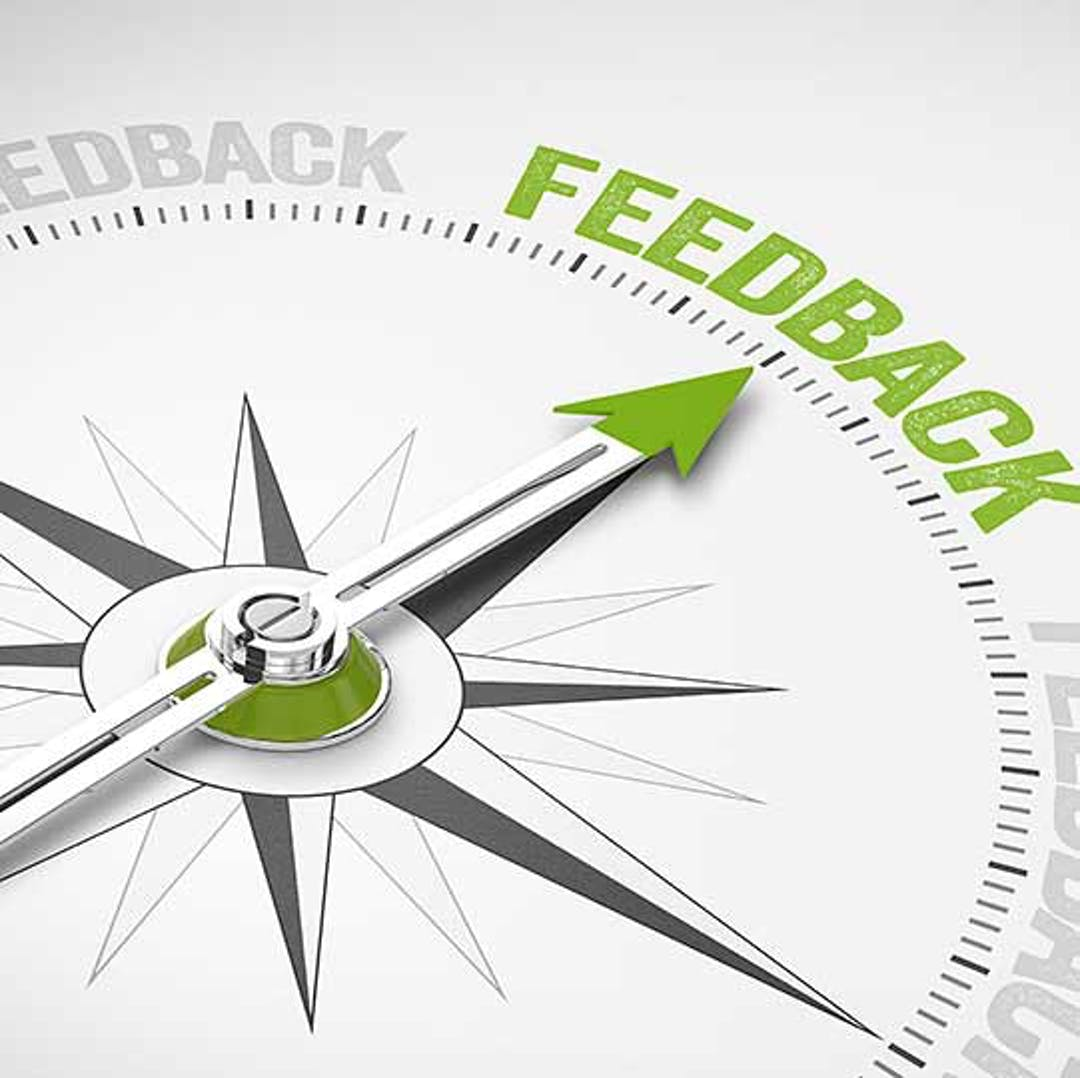 "Compass with an arrow pointing to the word ""Feedback,"" which is highlighted in green."