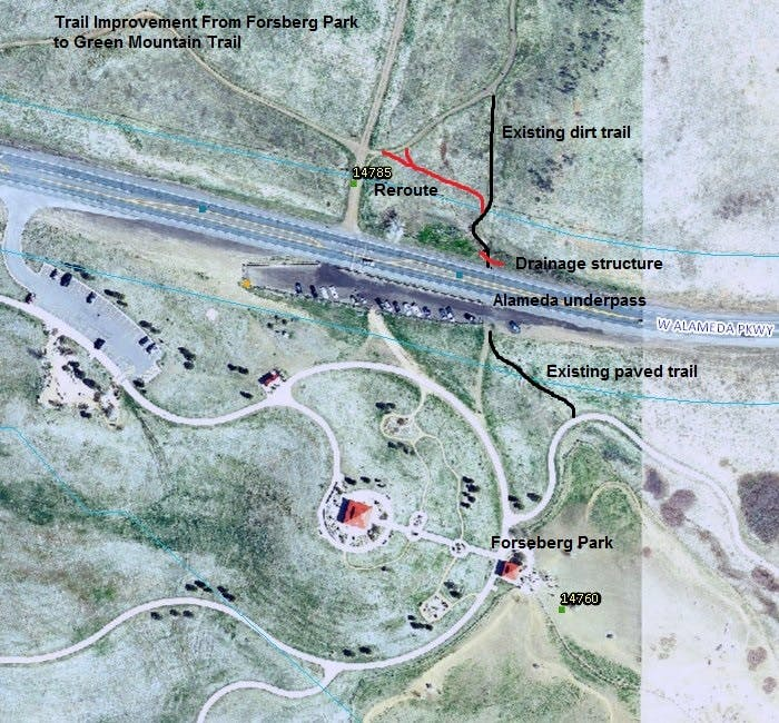 Forsberg Park to Green Mountain Trail Improvements Map