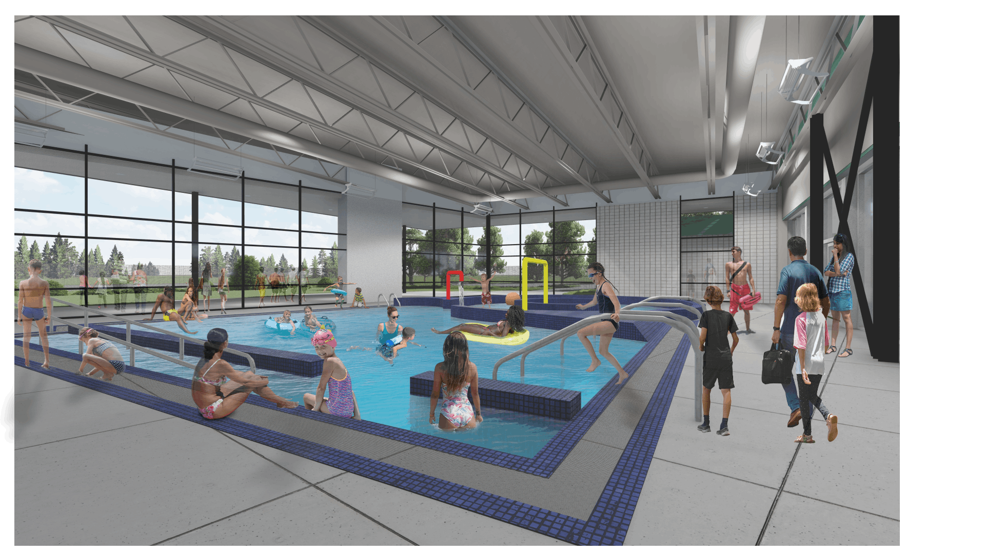 An interior perspective of the planned renovation to one of Sheldon's pools.