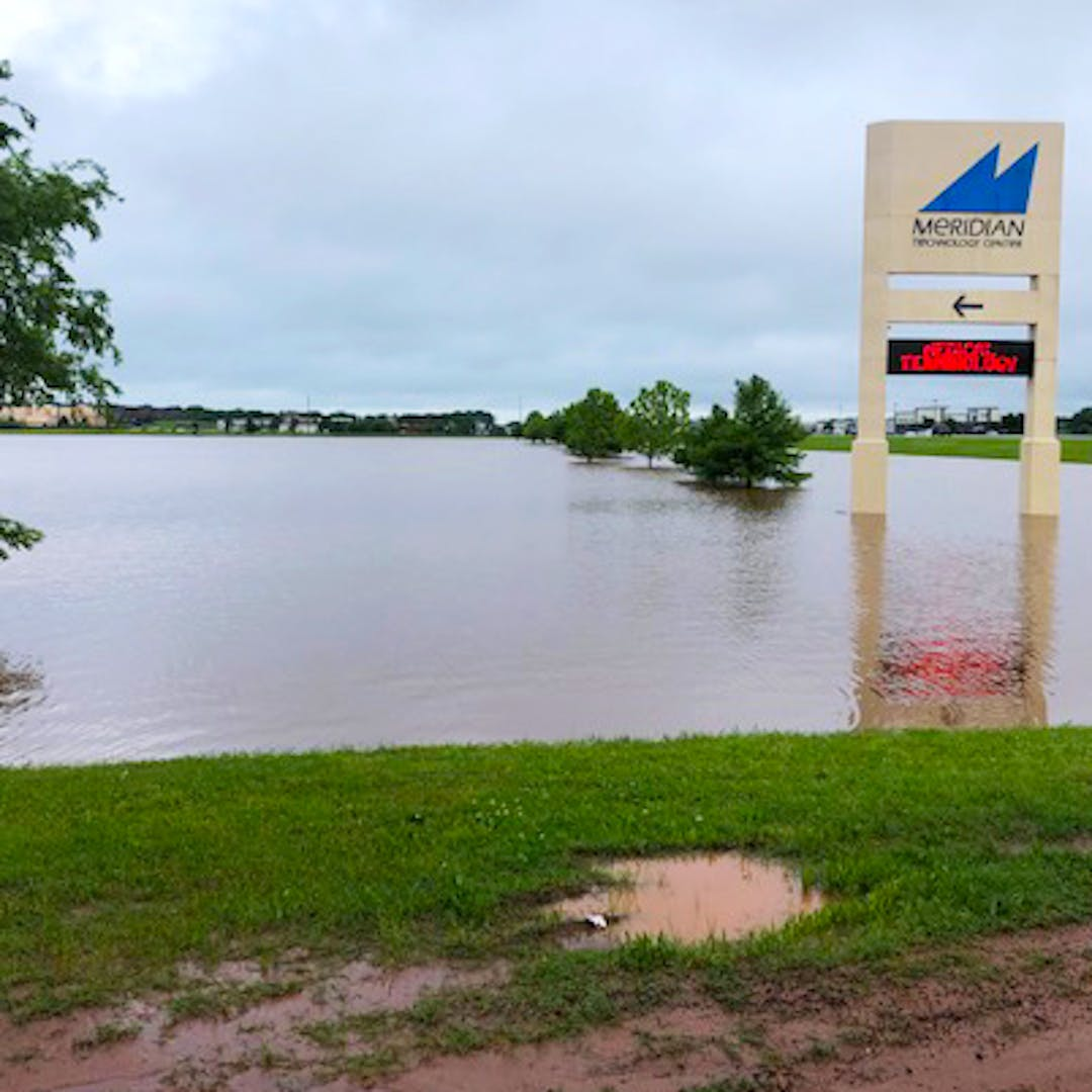 Floodwaters near Meridian Technology Center