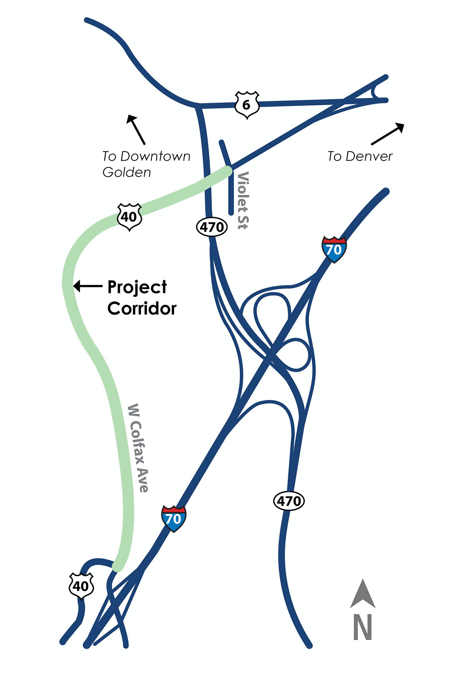 Map of the project corridor along W. Colfax Ave.