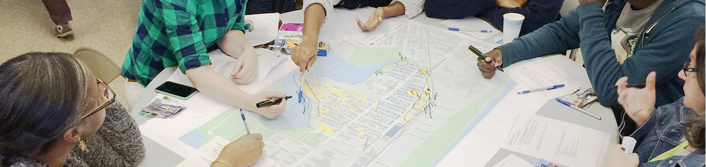 """Participants discuss future visions for Edgemere during the """"Create"""" workshop. Source: HPD"""