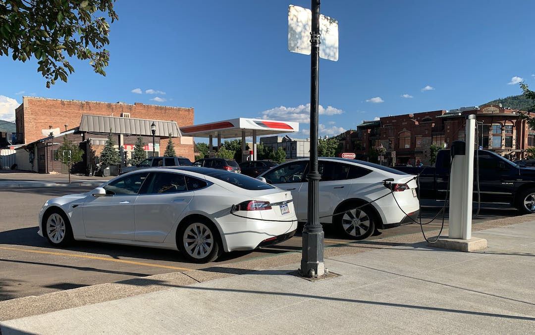 A Tesla take advance of one of Steamboat Springs' charging stations.