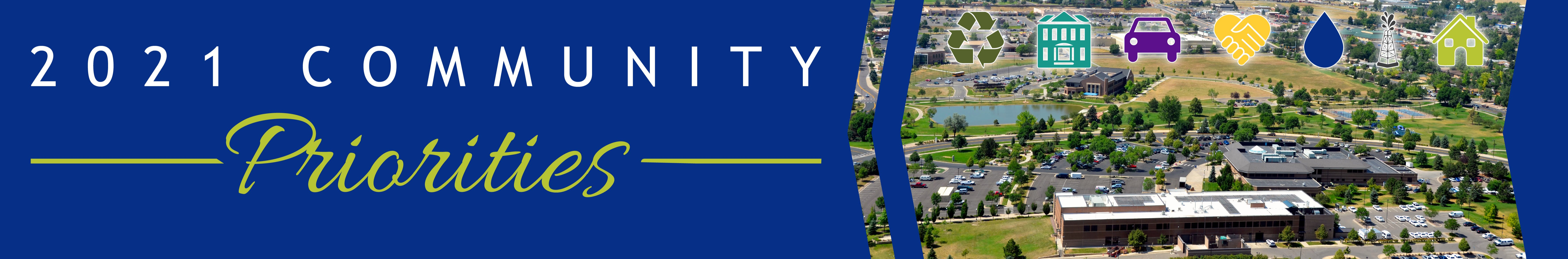 2021 Community Priorities header image featuring an aerial view of Community Park