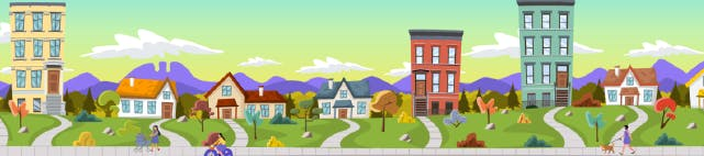 A cartoon image of a neighborhood street with homes and apartment buildings.