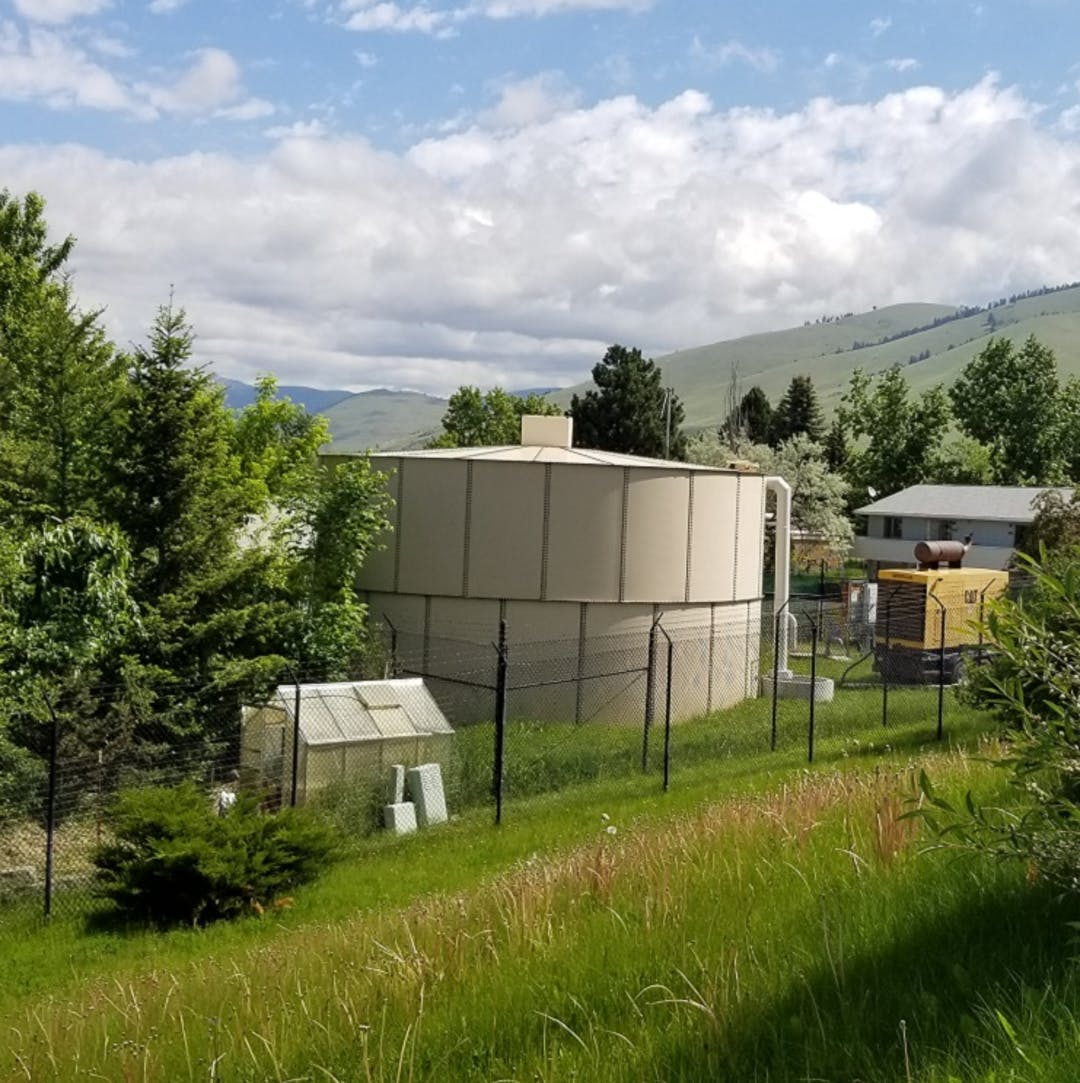 Photo of the Whitaker water tank.