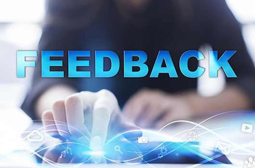 "The image shows the word ""FEEDBACK"" written in all capital letters, and highlighted in blue."