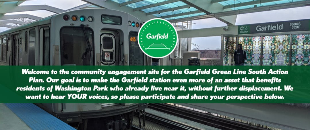 A train is pulling into the Garfield Green line station