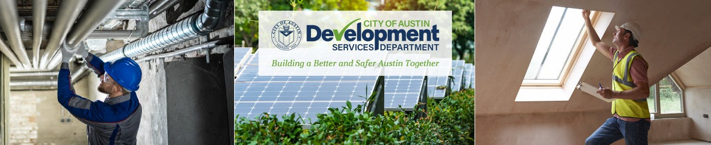 Building inspector, solar panels, and plumbing inspector in three separate pictures with Development Services logo