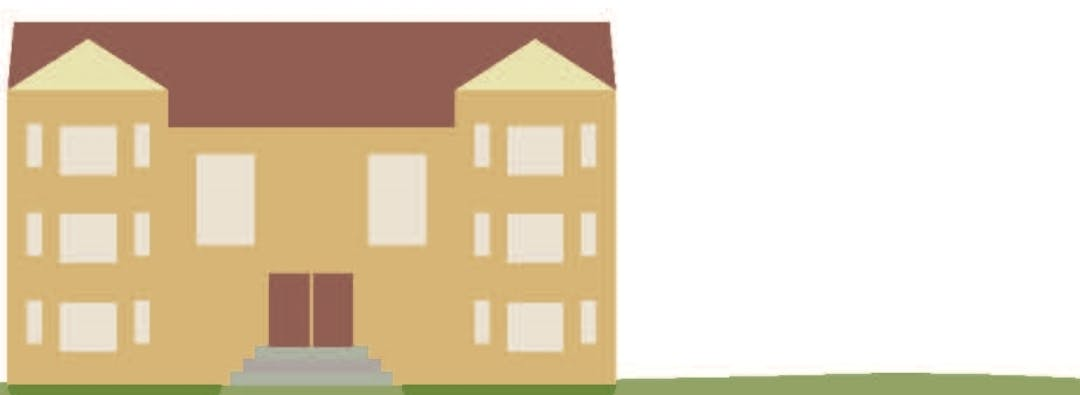 Yellow and brown image of an apartment building or missing middle home type