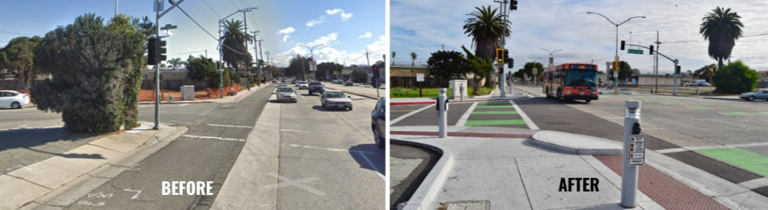 Before and After at North Fremont Street and Dela Vina Avenue
