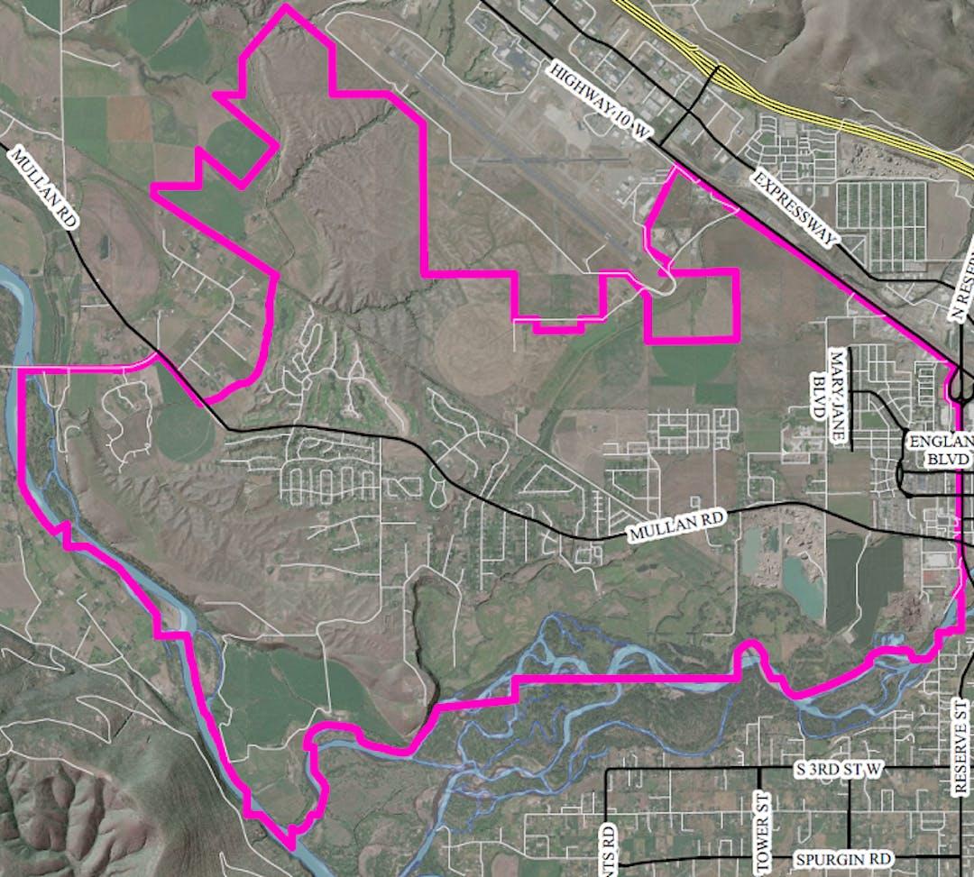 Map of Sxwtpqyen Area boundaries where the Sxwtpqyen Area Transportation Impact Fee would apply.