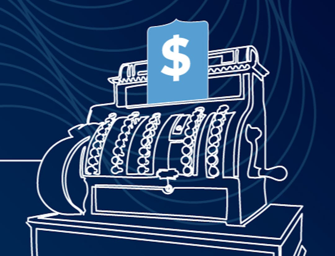 White line sketch of an old-fashioned cash register over a dark blue background
