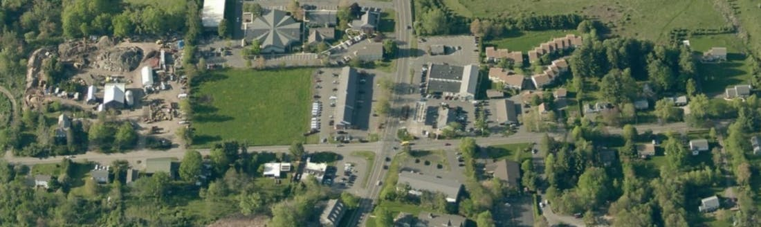 aerial image view of Pomeroy Village Center in Amherst, MA