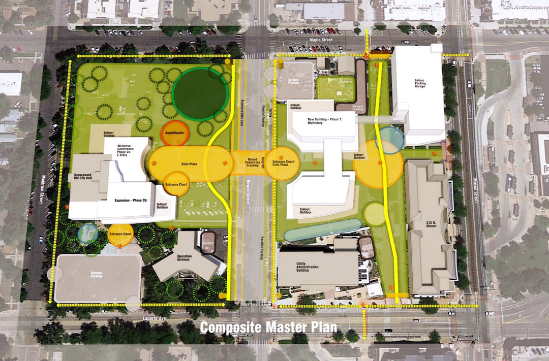 Aerial view of Fort Collins Civic Center Master Plan