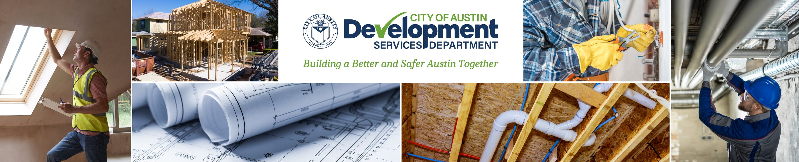 Hero image with construction of buildings, building plans, inspectors, and inspections