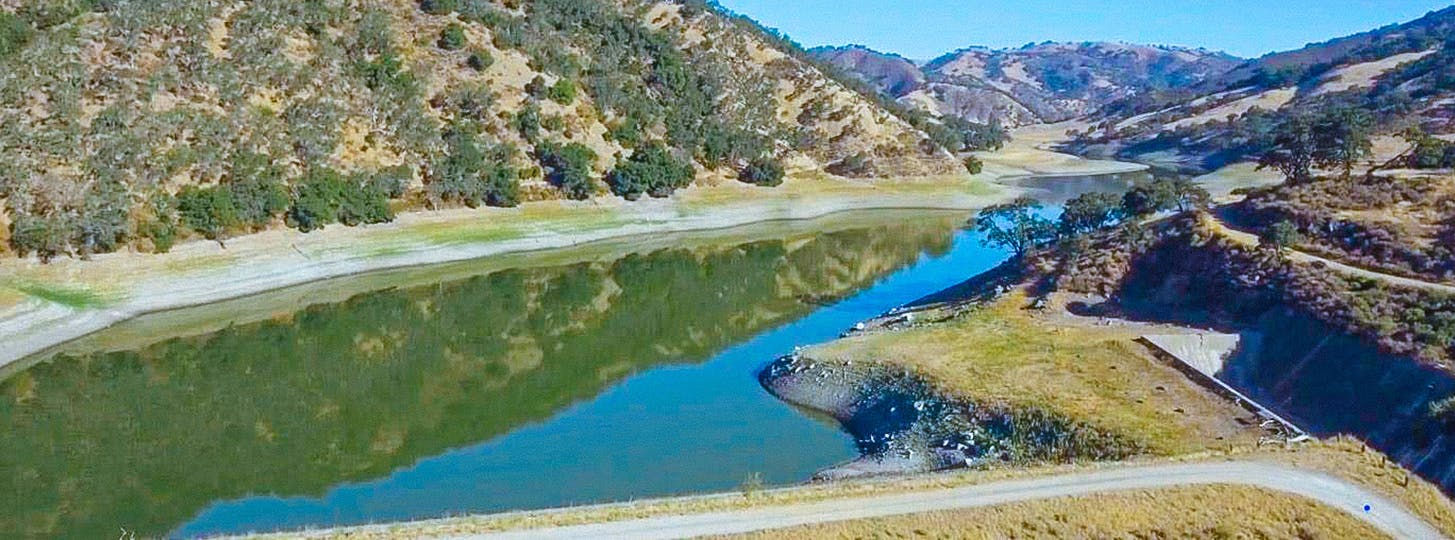 A view of the existing Pacheco Dam and Reservoir in south Santa Clara County.