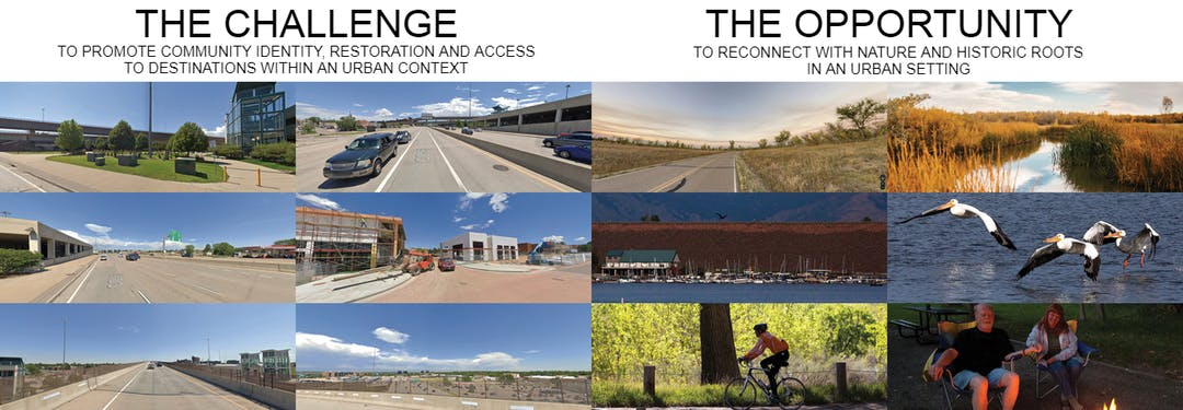 Site images of the areas and perspectives where the bridge will be seen. Nine Mile Light Rail Station and the Point development.
