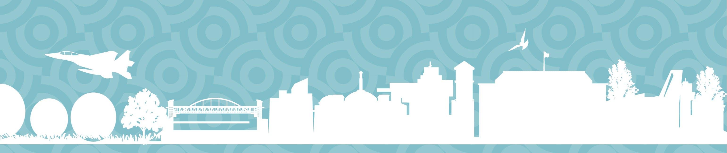 Illustration of various city of Aurora landmarks