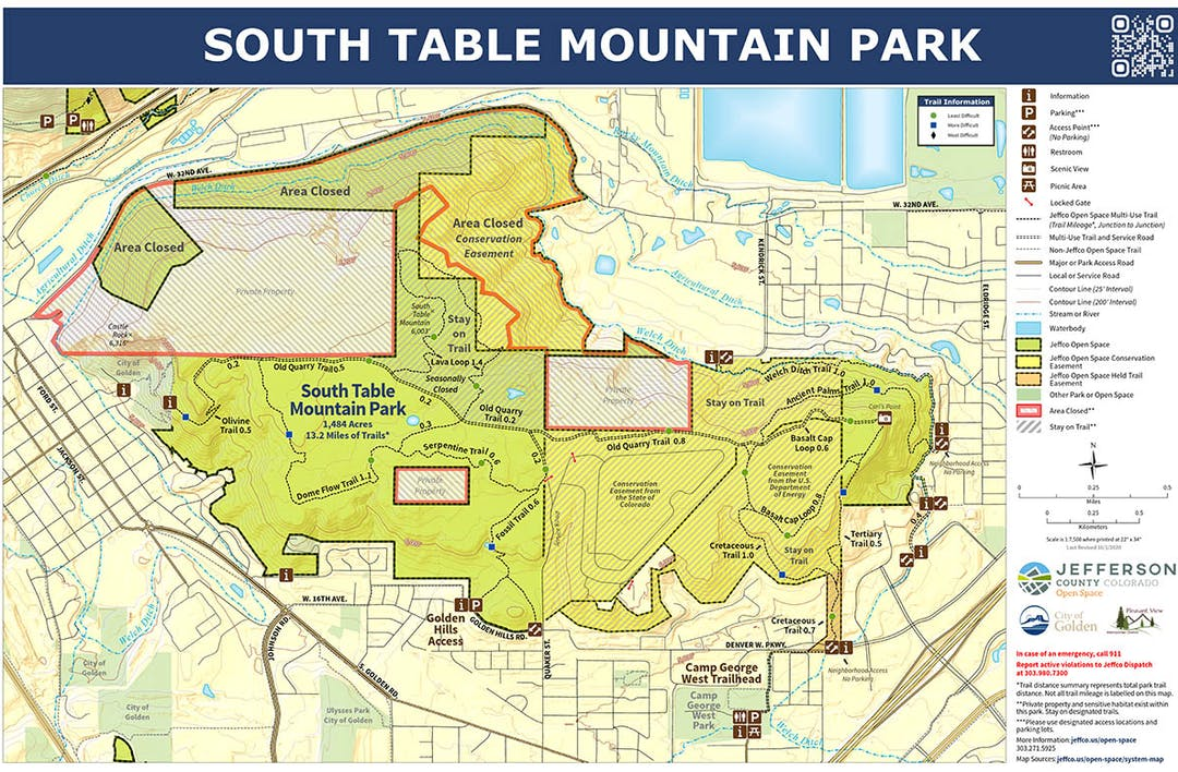 A map of the South Table Mountain Park area with trails and areas of management.