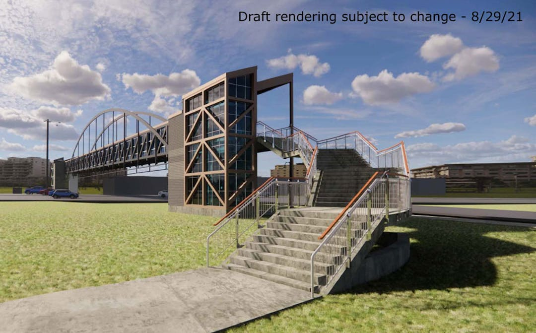 Preliminary design of Nine Mile Bridge, which is still in development and subject to change